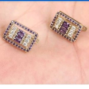 Large Square Amethyst & Topaz gold earrings